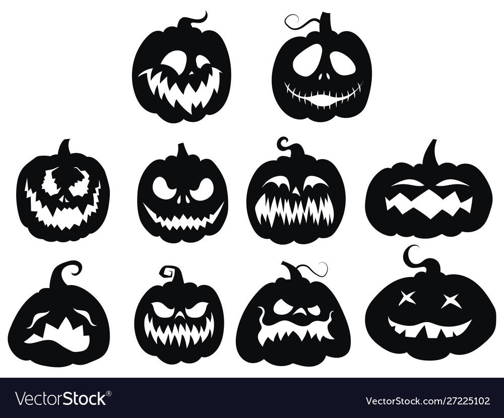 Set pumpkins collection pumpkin faces