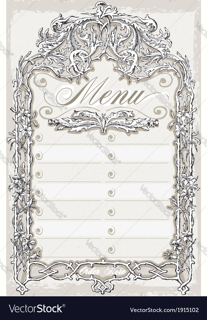 Vintage Graphic Page for Bar or Restaurant Menu