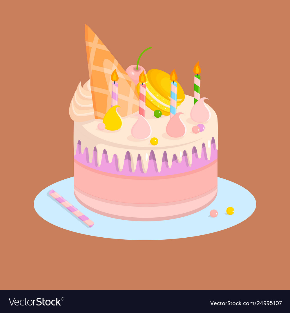Enjoyable Cake For Birthday Party With Candles And Sweets Vector Image Personalised Birthday Cards Veneteletsinfo