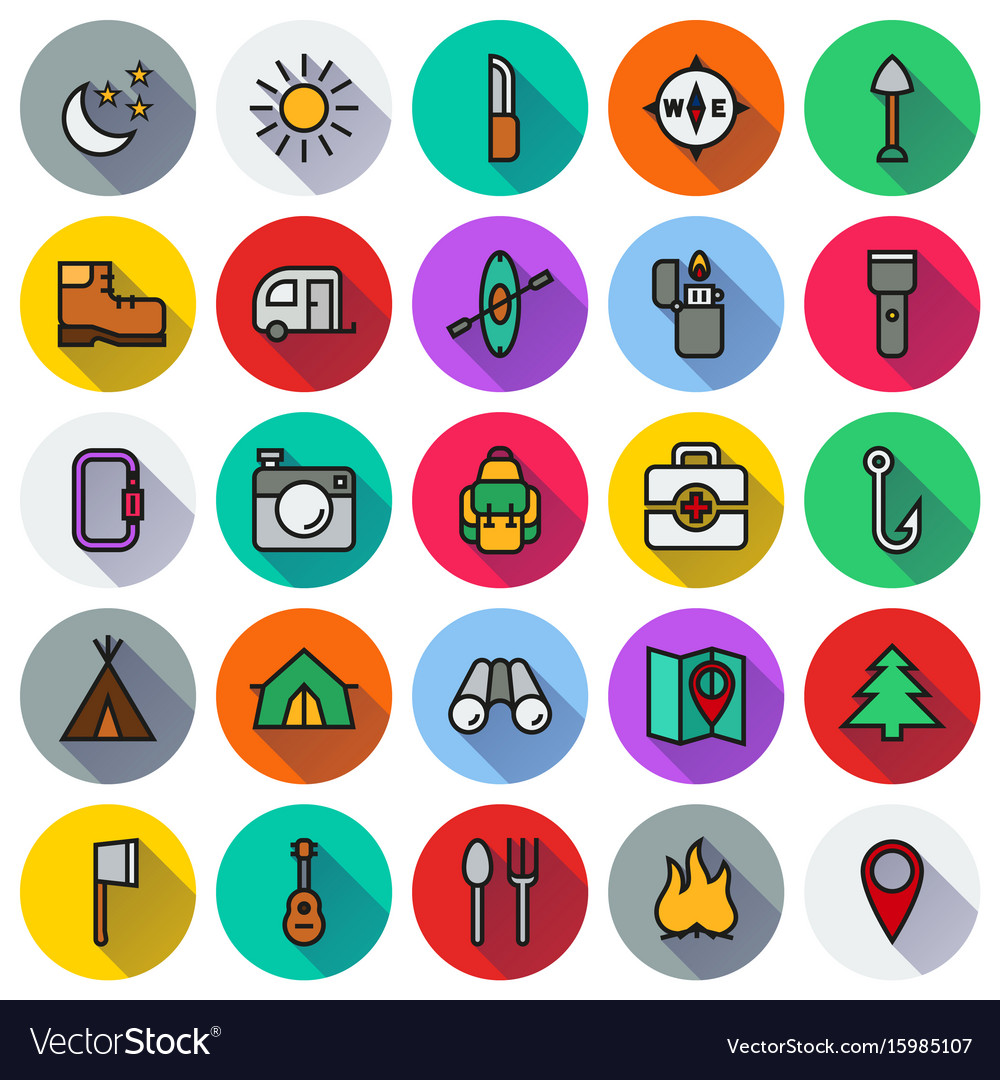 Camping icons set on white background