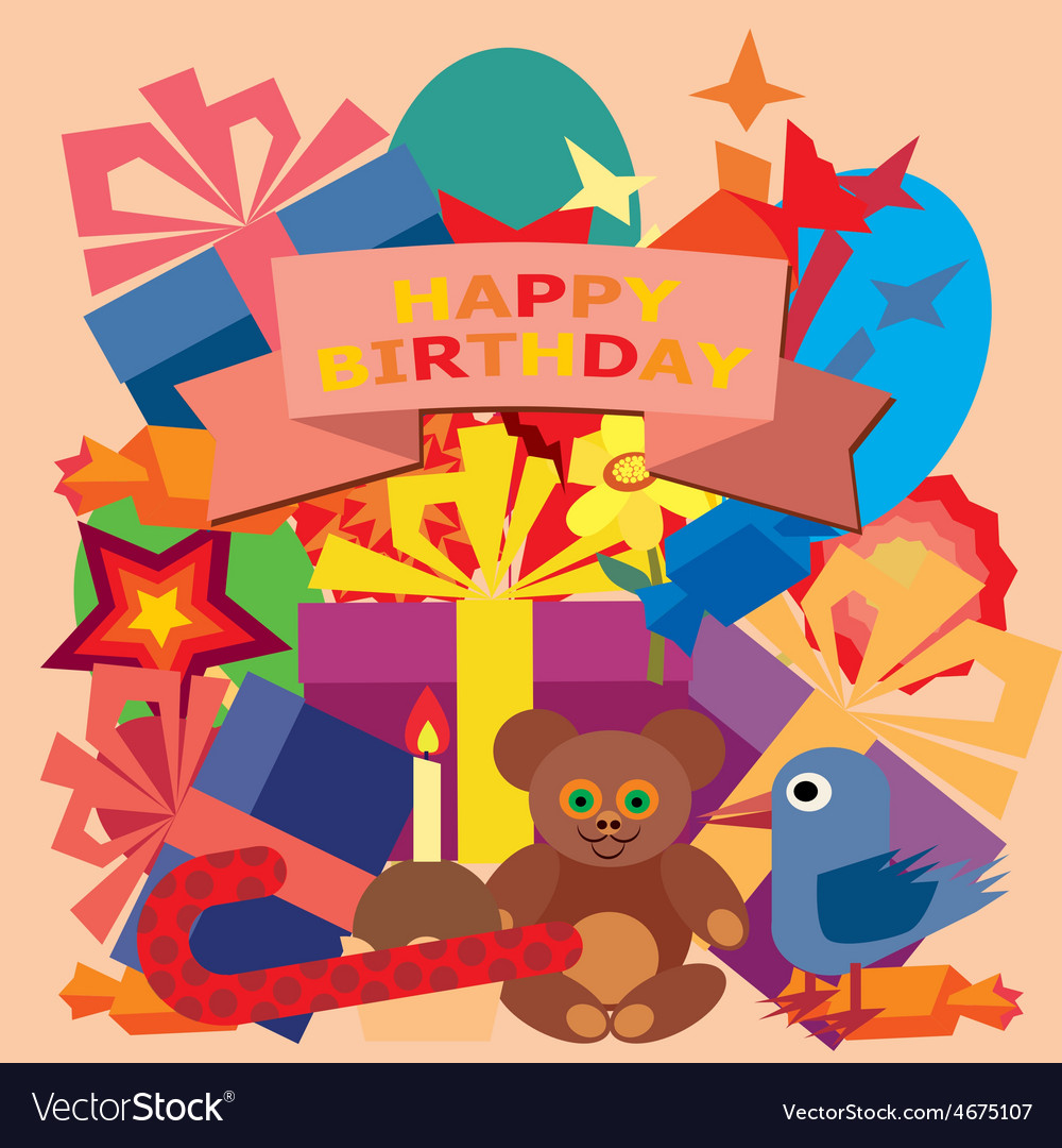 Card For Birthday Greetings Royalty Free Vector Image