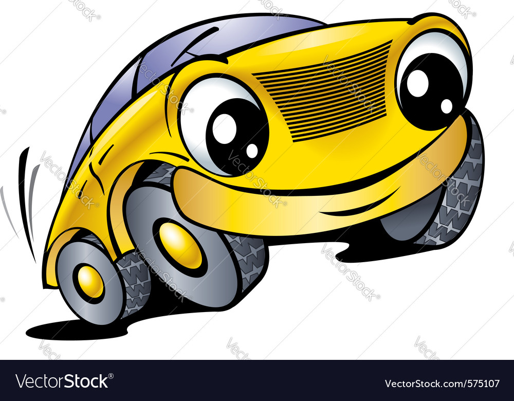 Cartoon car with smile vector image