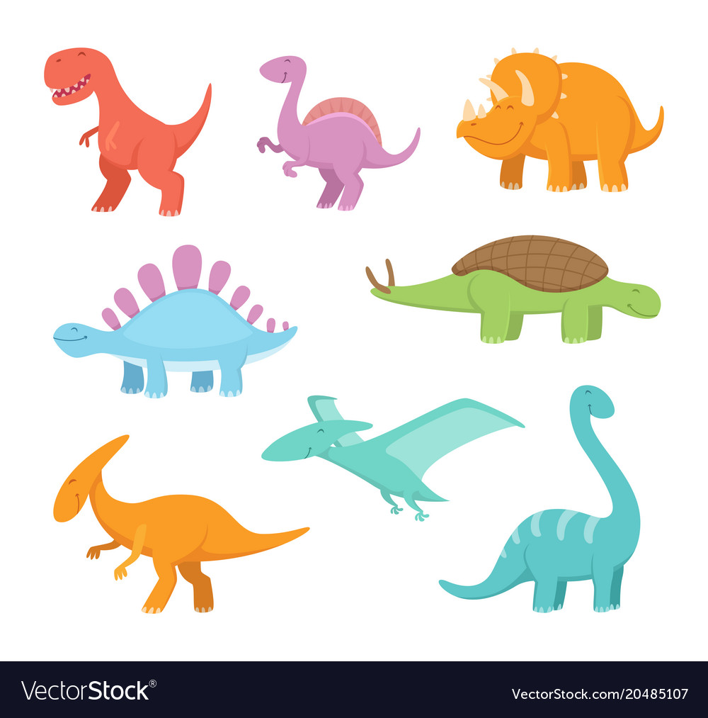 Cartoon set of funny dinosaurs pictures of