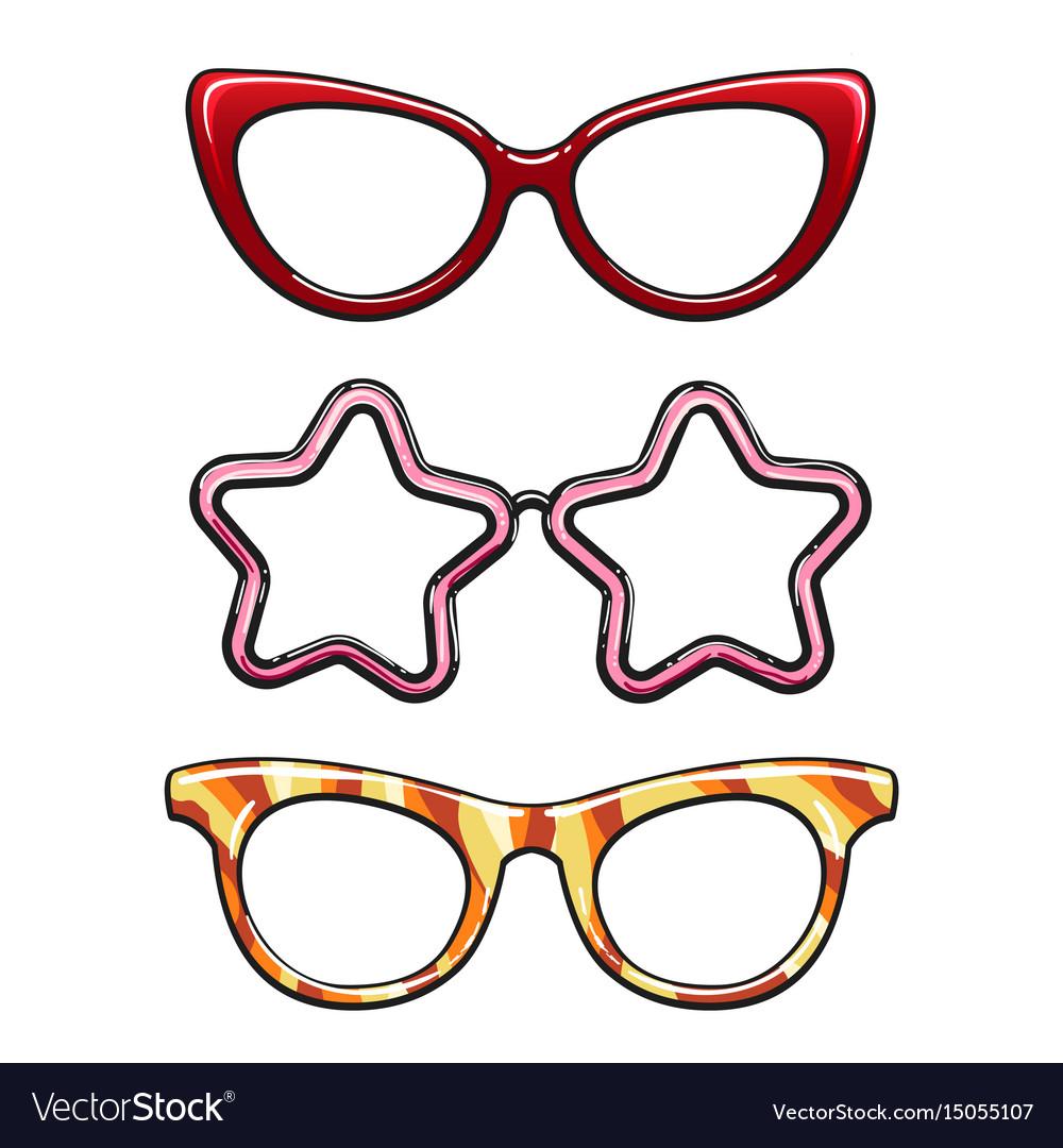Colorful eyeglass frames set Royalty Free Vector Image