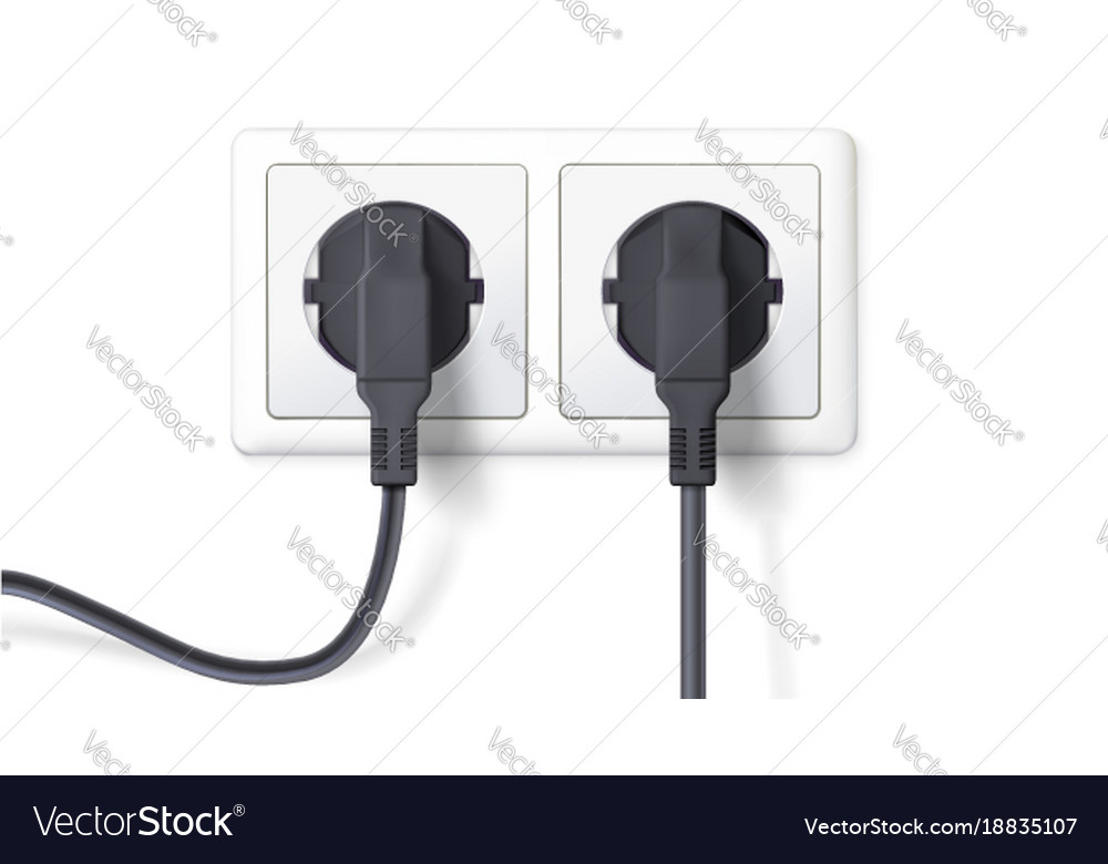Electric plugs and socket realistic black plugs