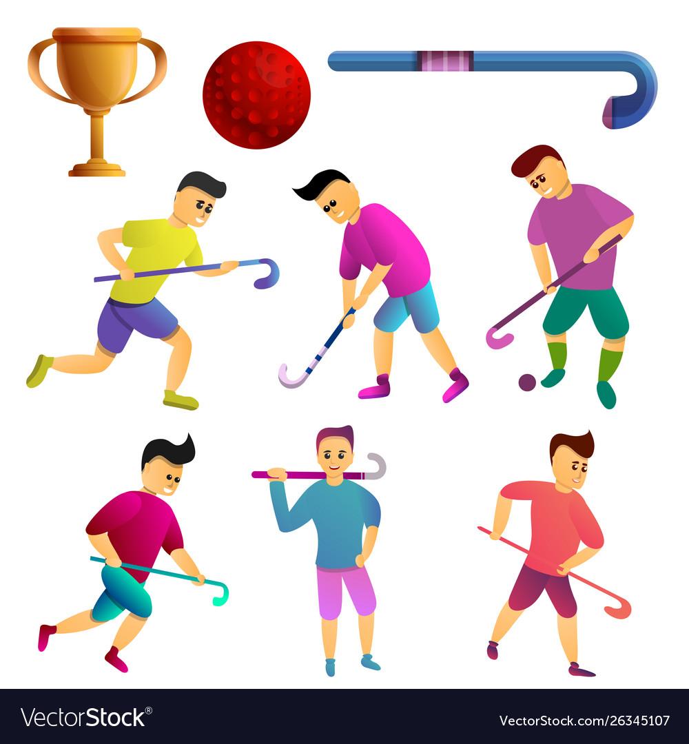 Field Hockey Icons Set Cartoon Style Royalty Free Vector