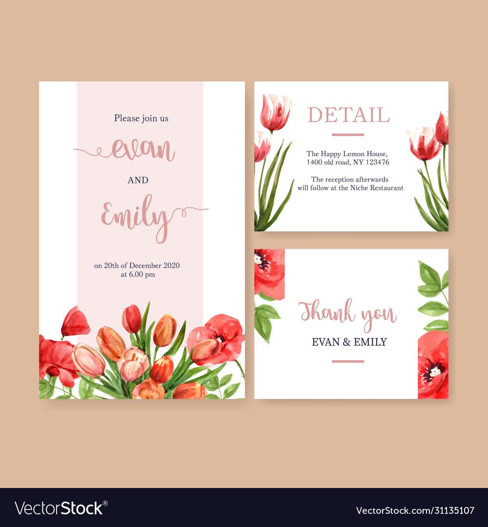 Flower garden wedding card design with tulips
