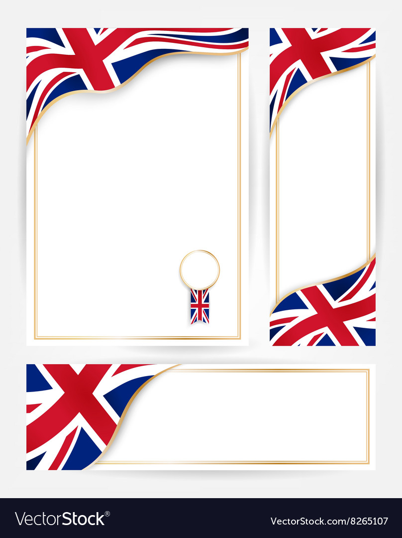 Great Britain flag banners set