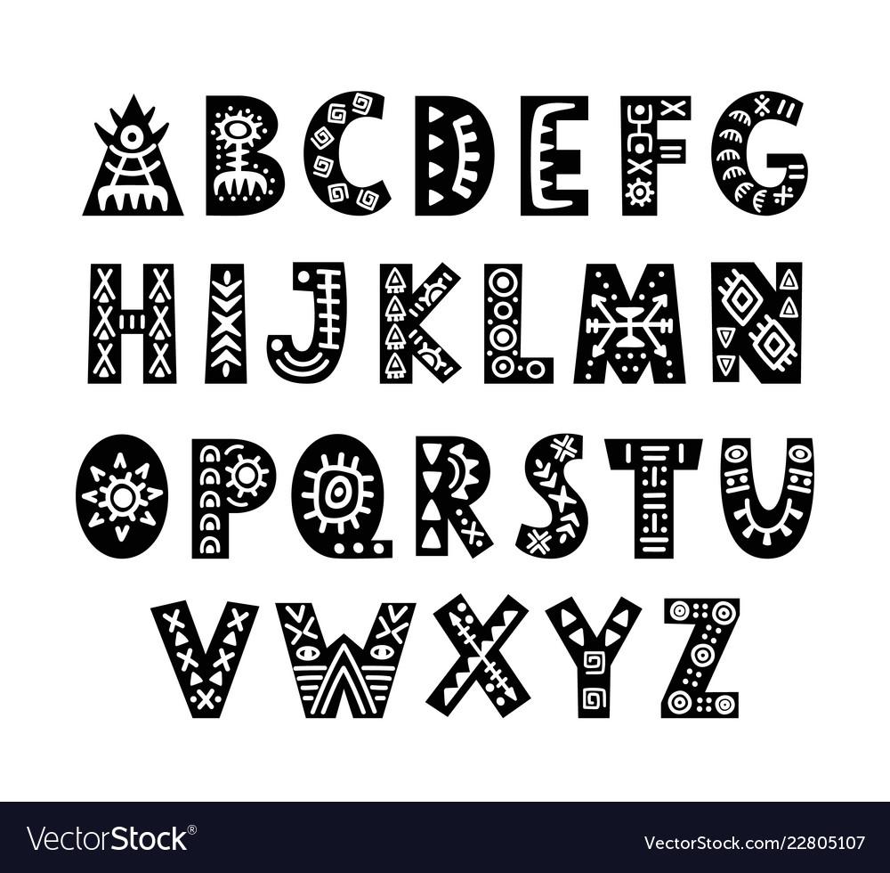 Hand drawn african tribal font scandinavian script