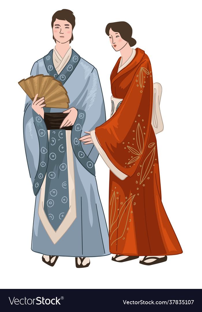 Man and woman wearing japanese kimono clothes