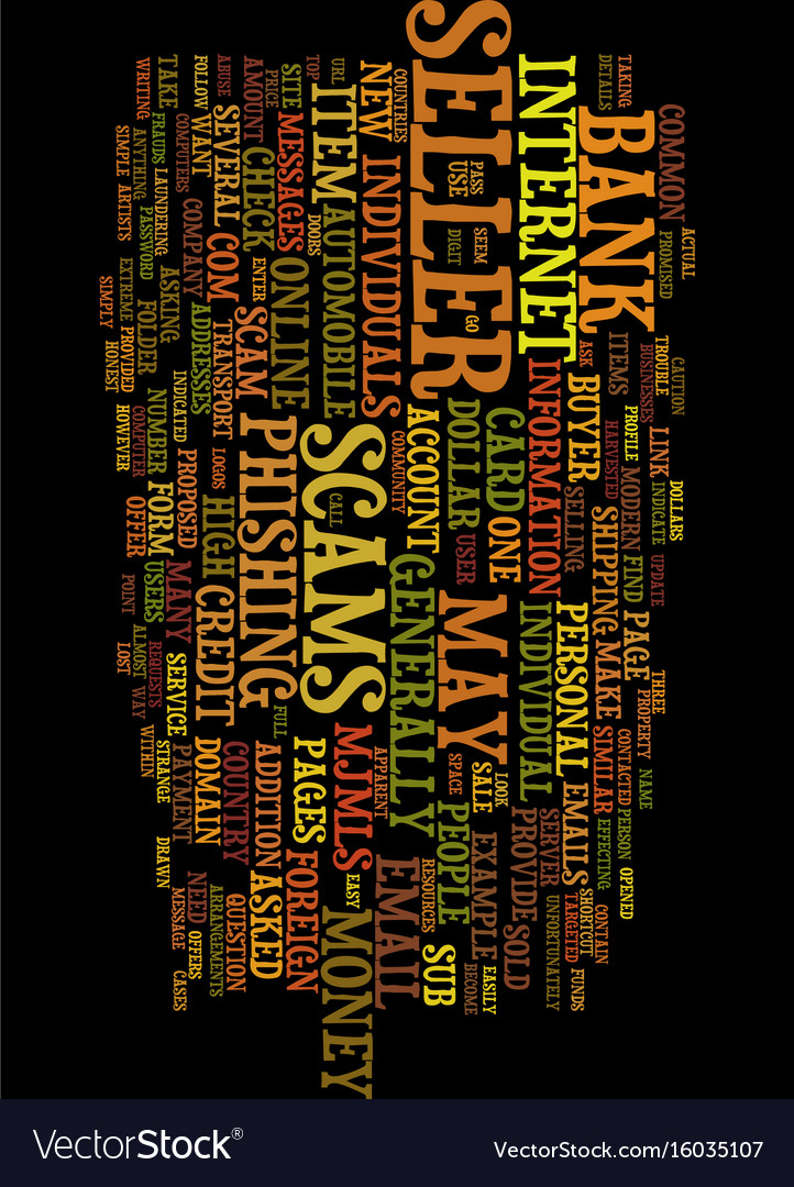 Modern scams online text background word cloud