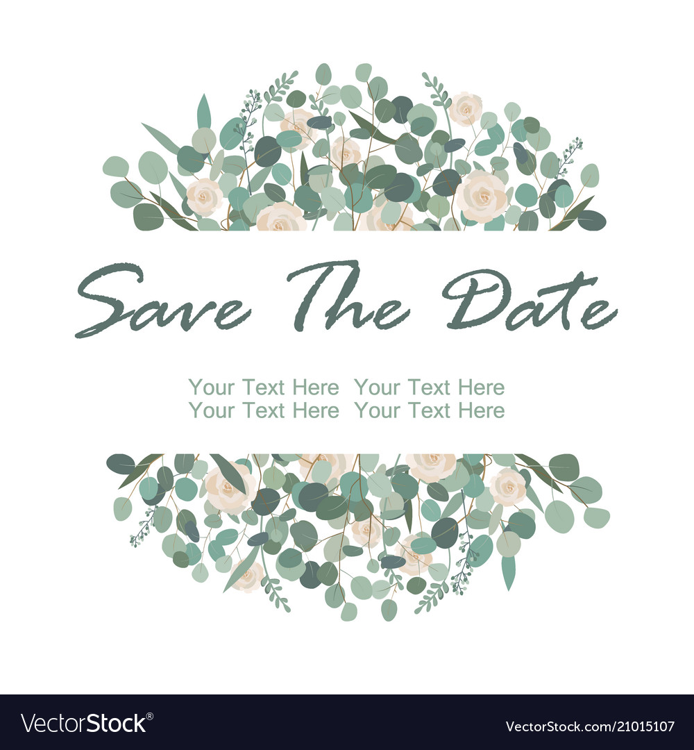 Save the date card with white rose flowers and