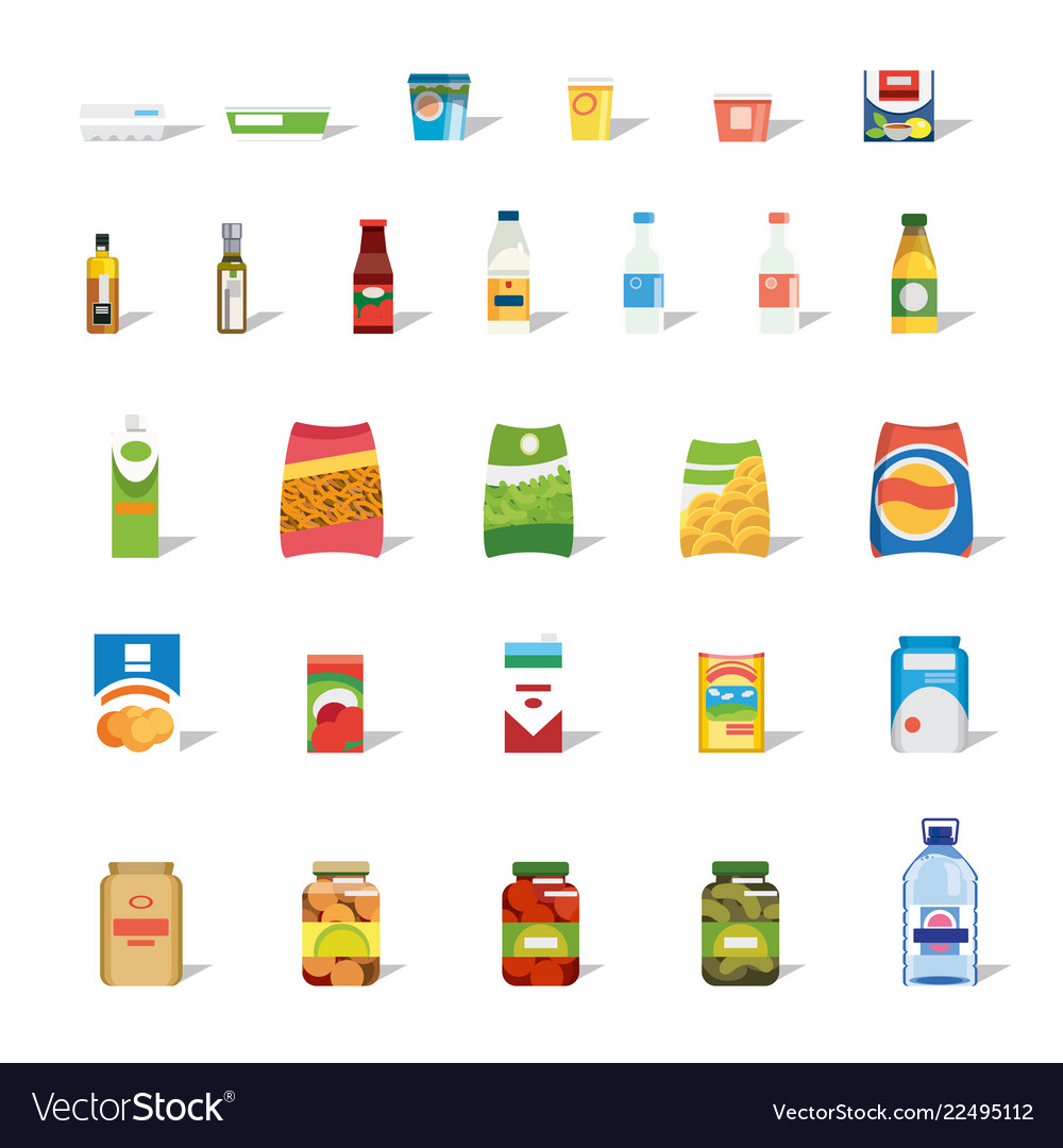 Big collection of food and drinks flat icon