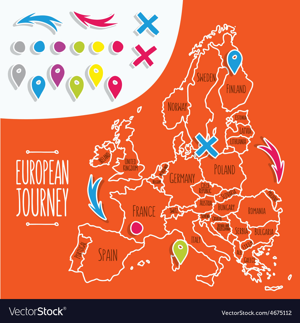 Cartoon style hand drawn travel map of Europe with