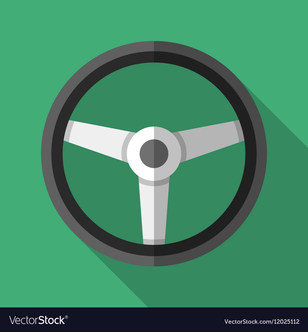 Colorful steering wheel icon in modern flat style
