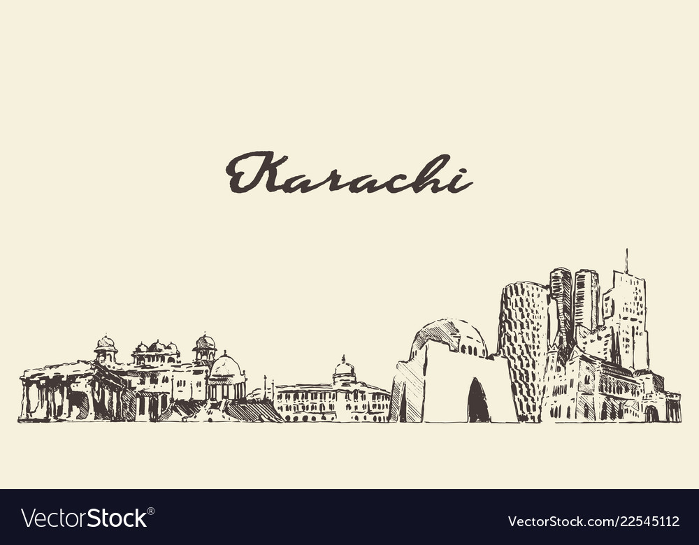 Karachi skyline pakistan city drawn sketch