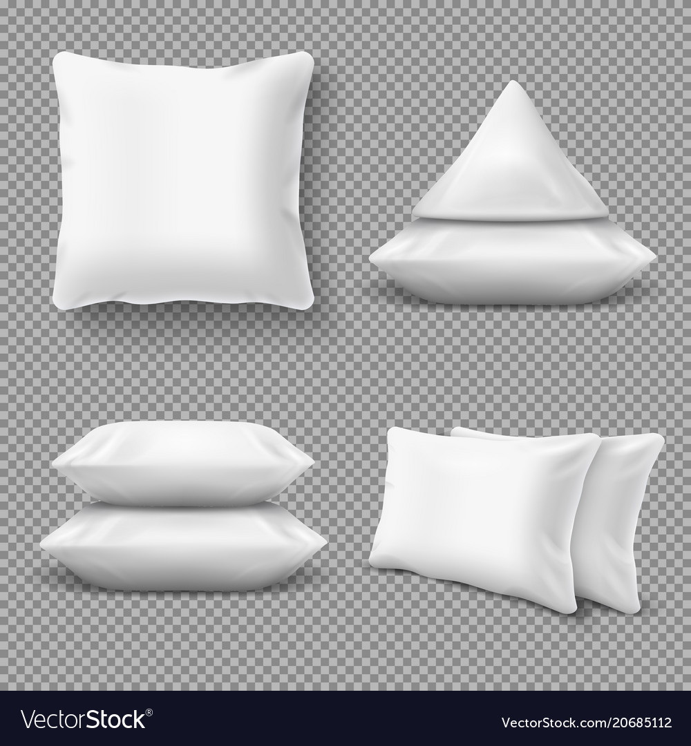 Realistic white comfortable pillows home cushions