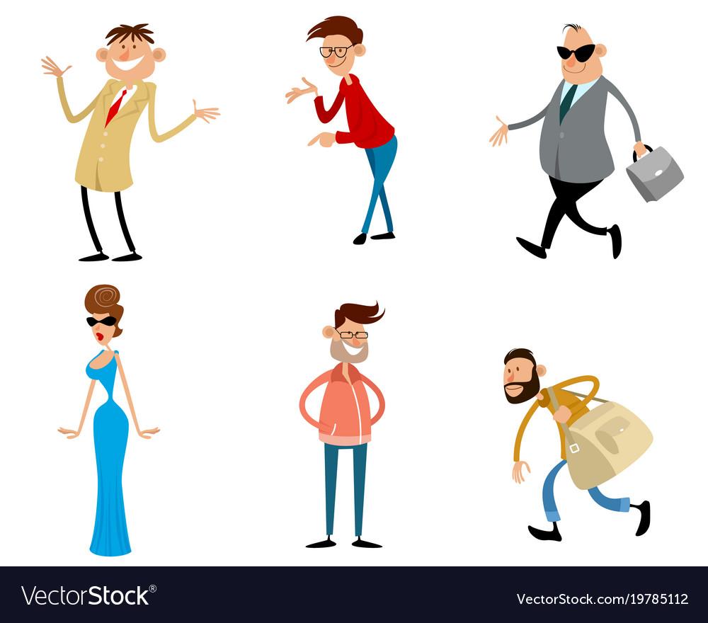 Six trendy cartoon characters