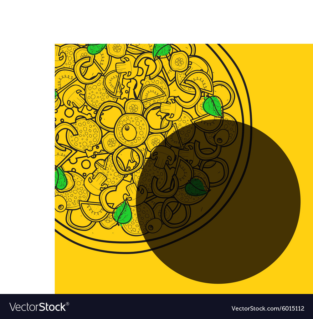 Template background with pizza doodle designs for