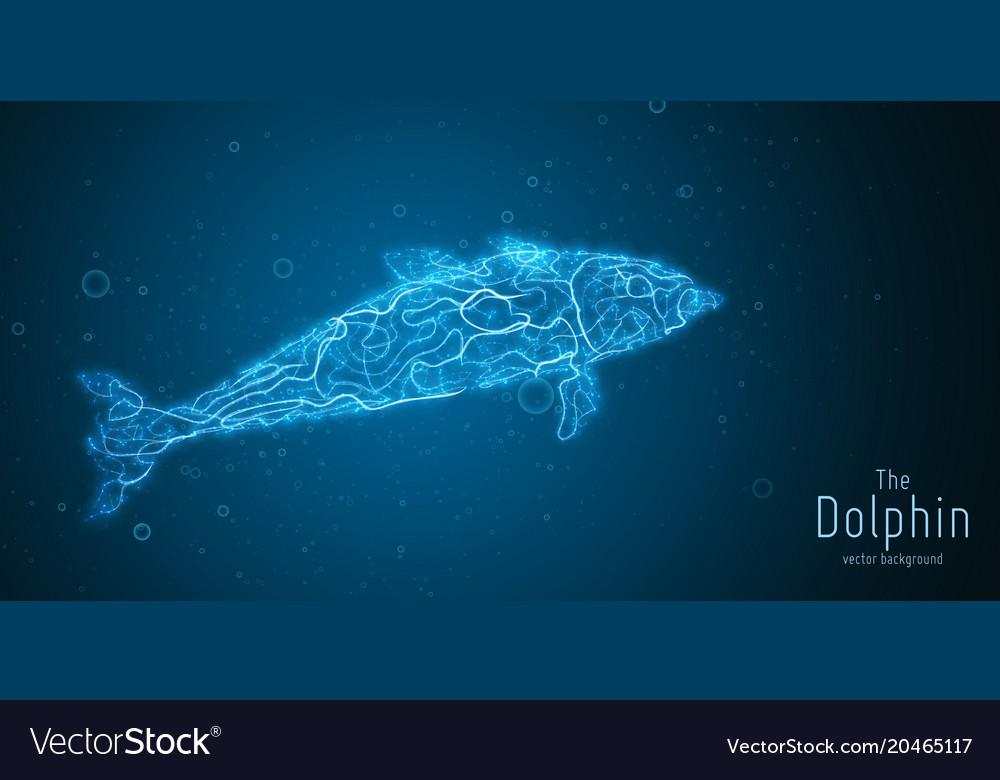 Blue geometric dolphin