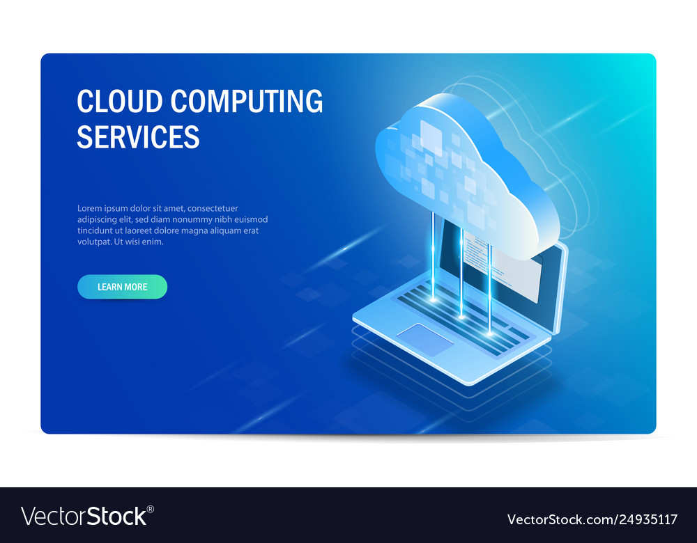 Cloud computing services isometric concept the