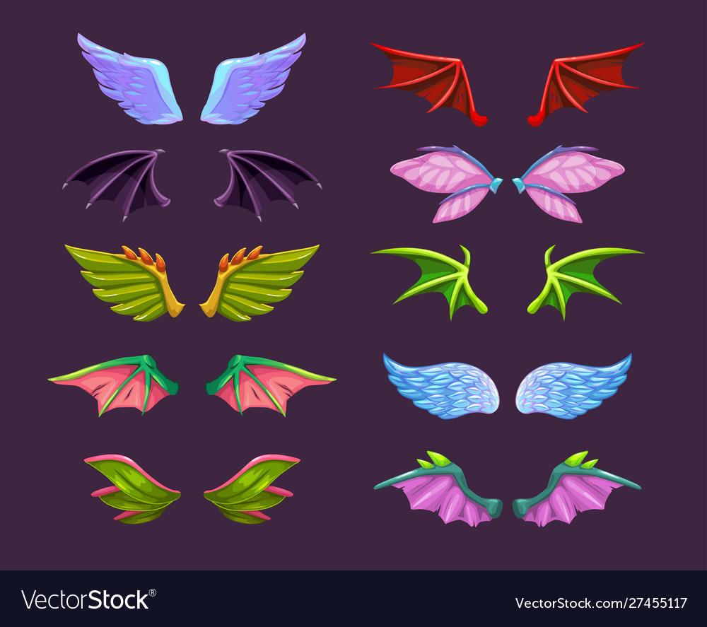 Different cartoon animal wings set angel devil