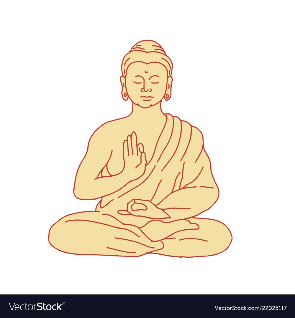 Gautama buddha sitting lotus position drawing vector image