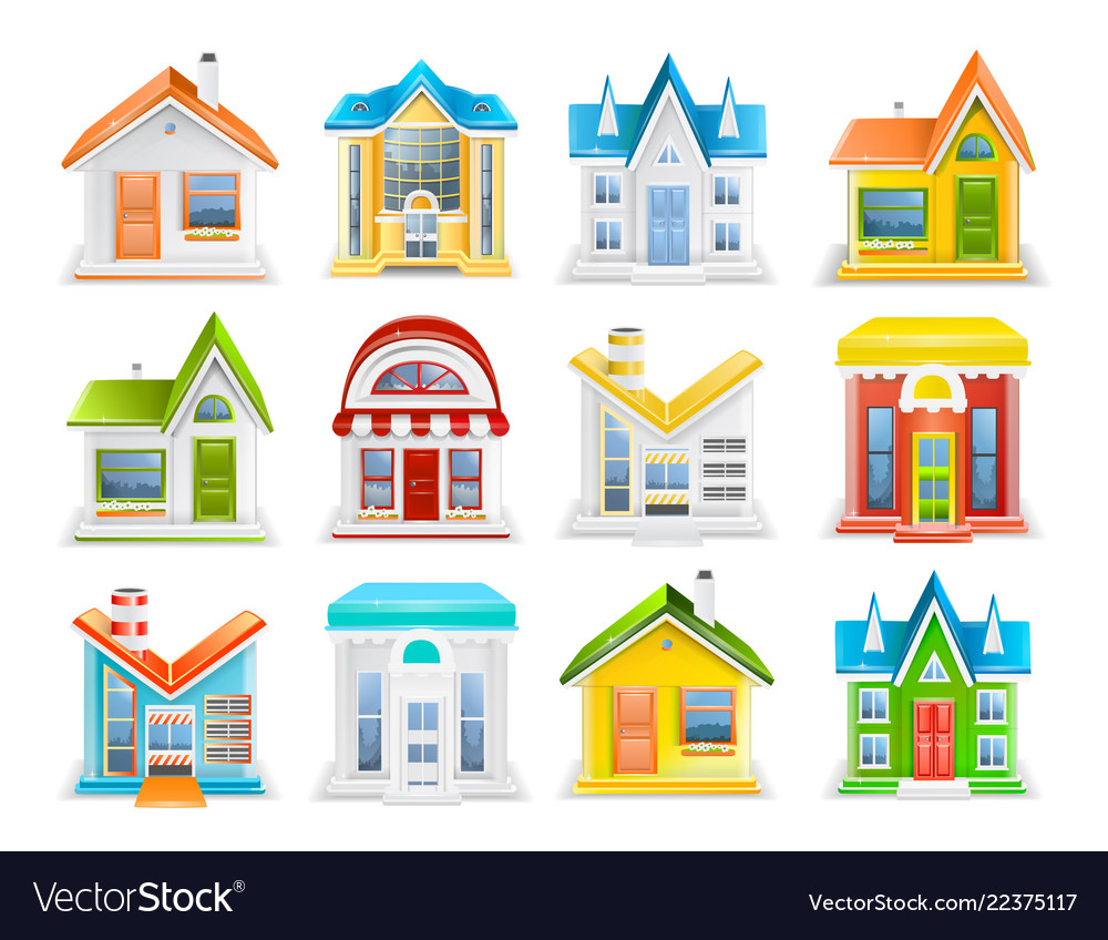 Icon set of houses and buildings of different type
