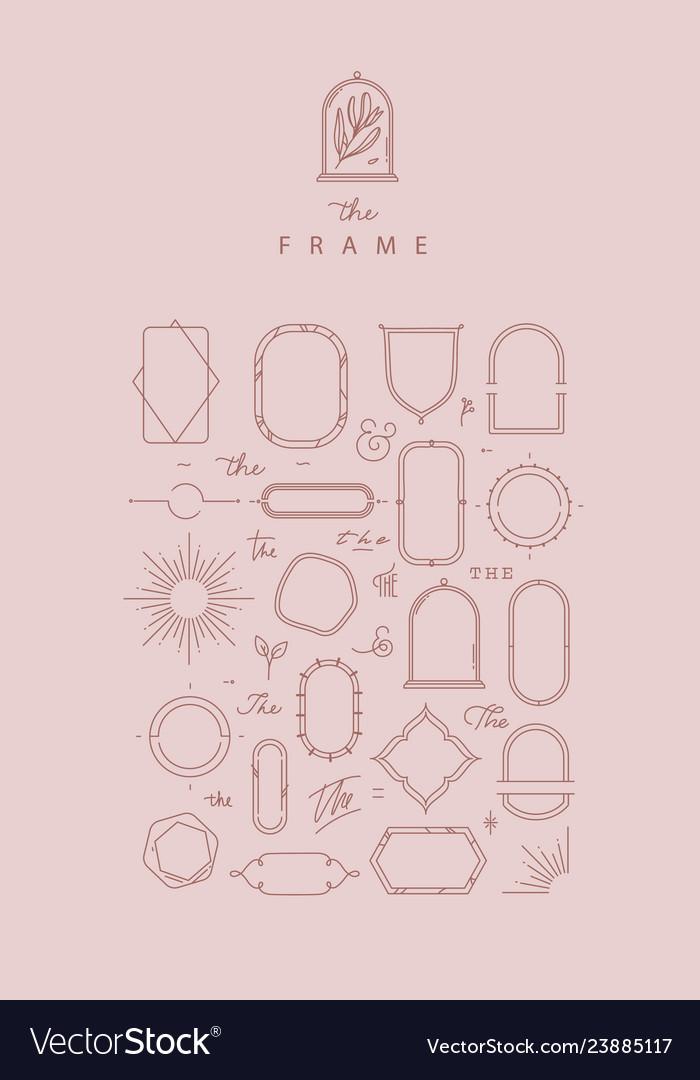 Modern frames and elements rose beige