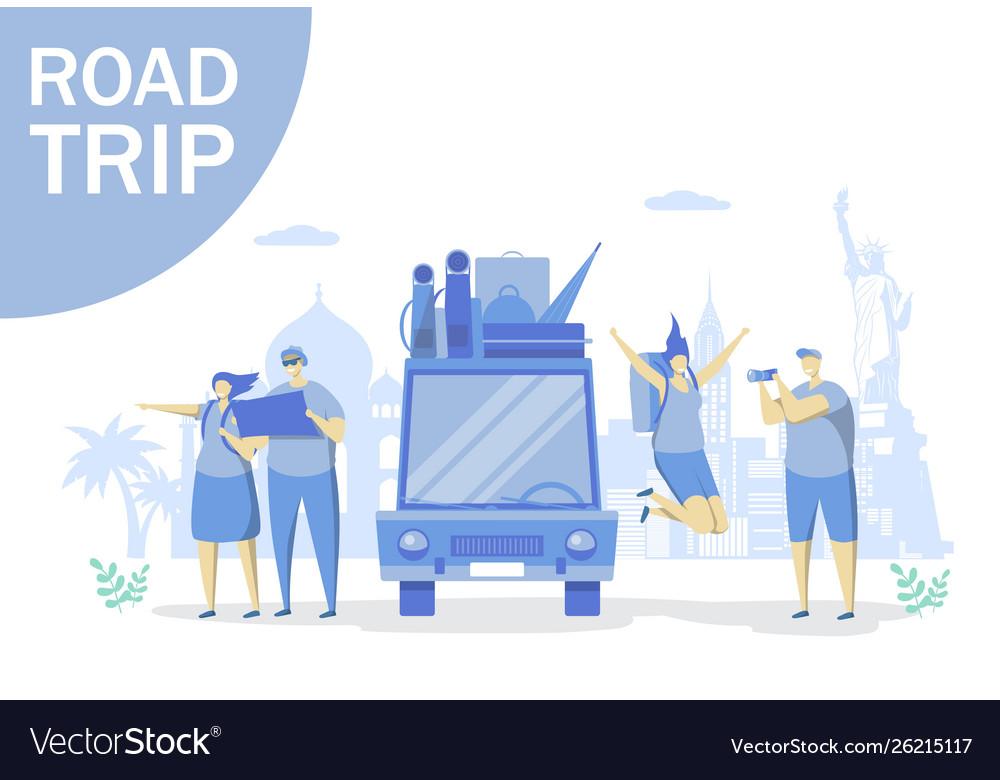 Road trip concept for web banner website
