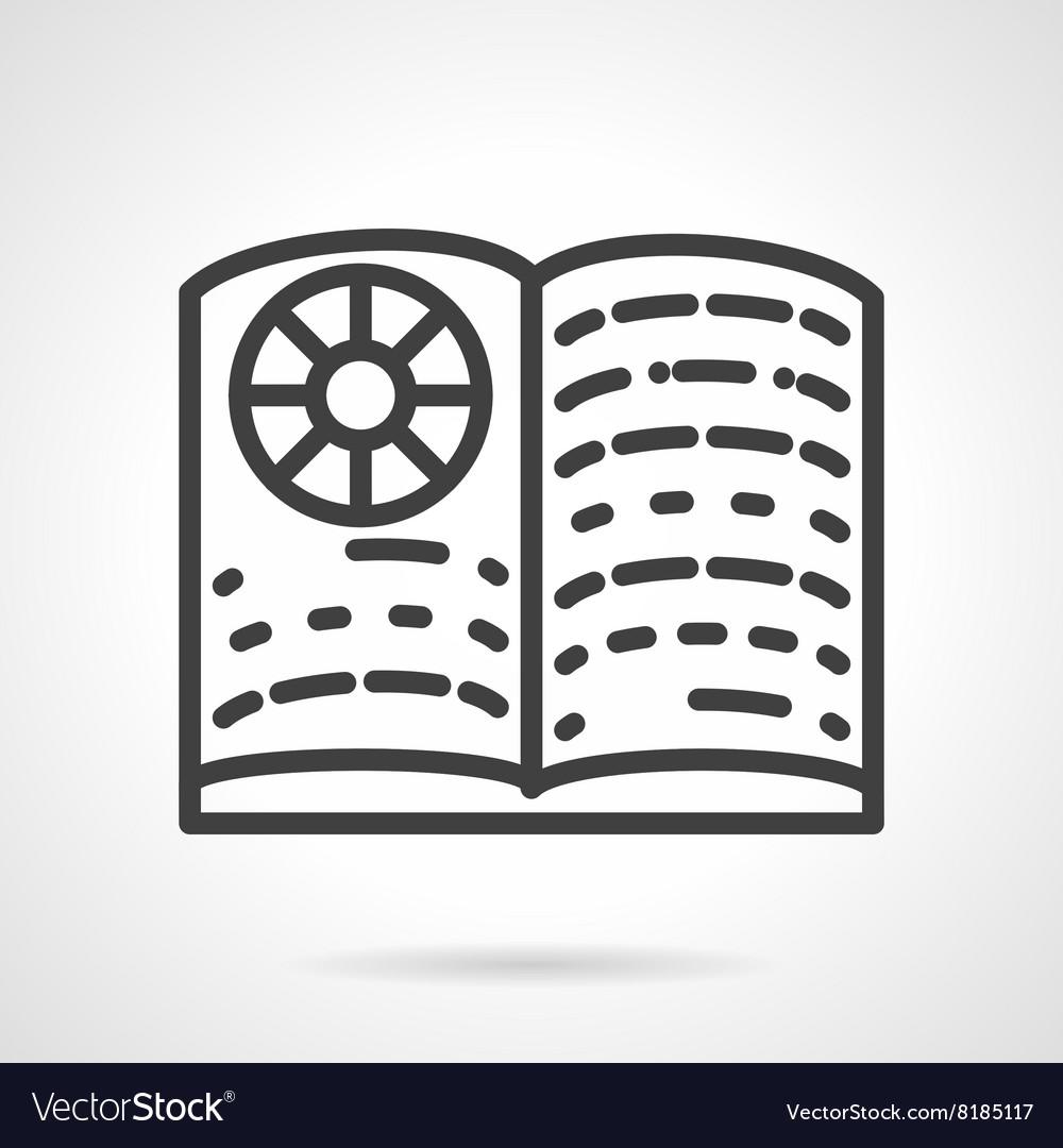 School textbook simple line icon vector image