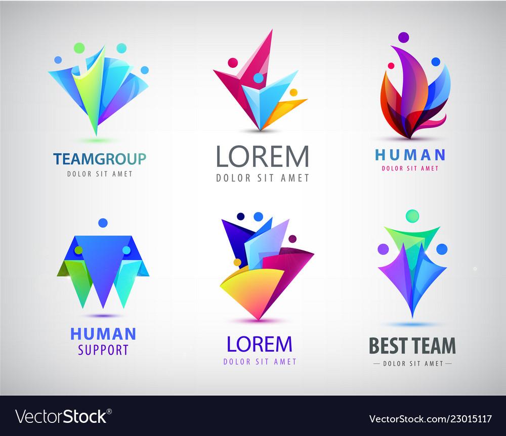 Set of human people circle group logos