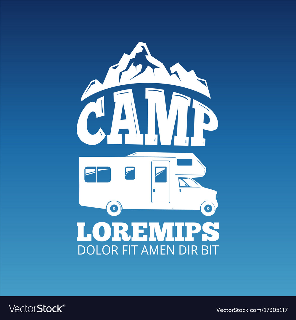 White camping travel label design