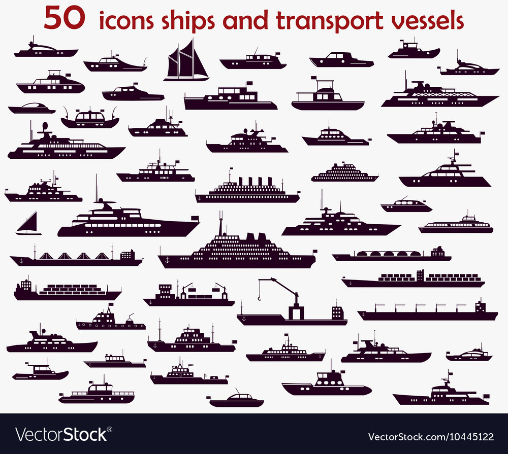50 icons ships vector image