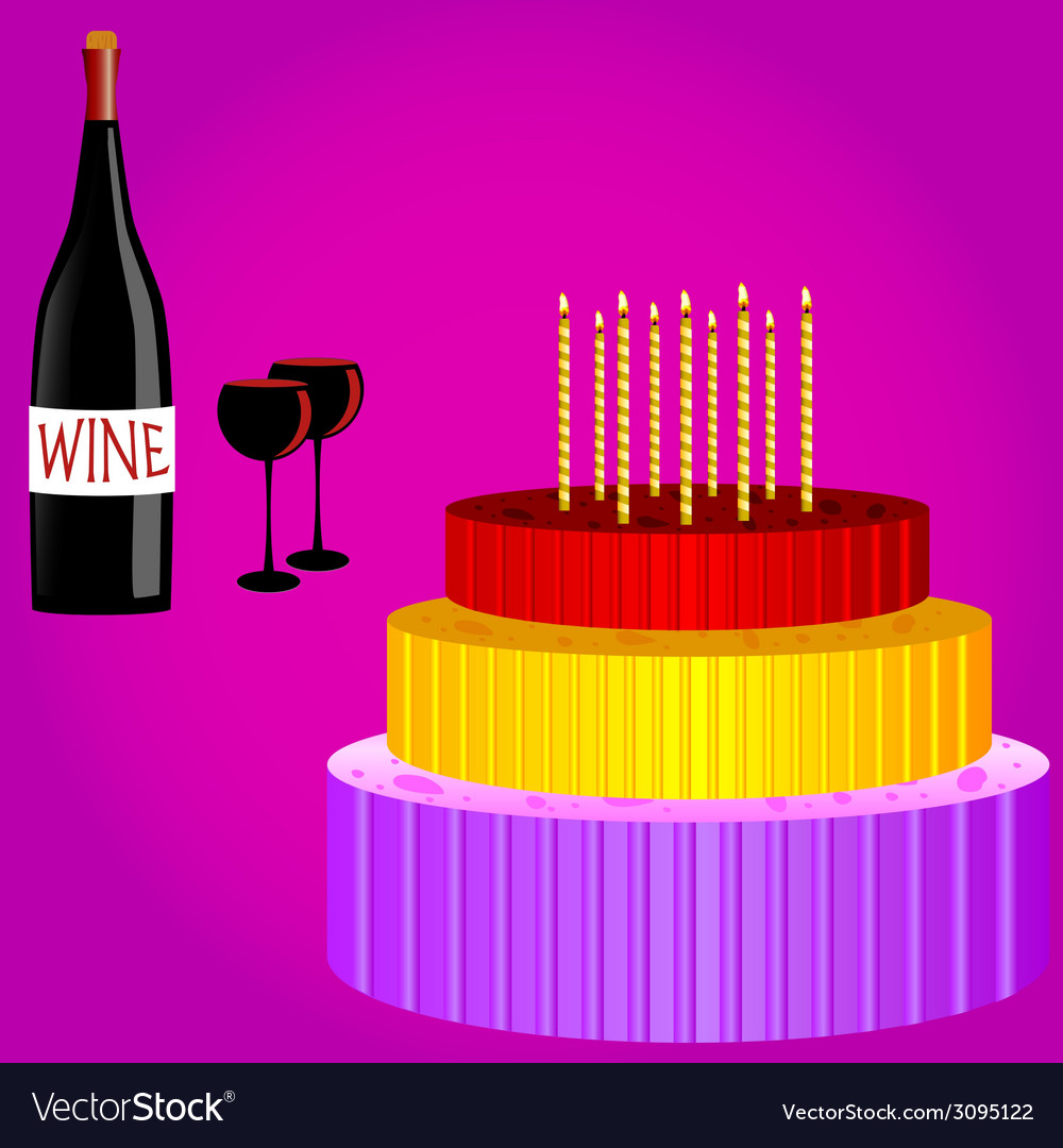 Birthday Cake With Wine Cartoon Royalty Free Vector Image