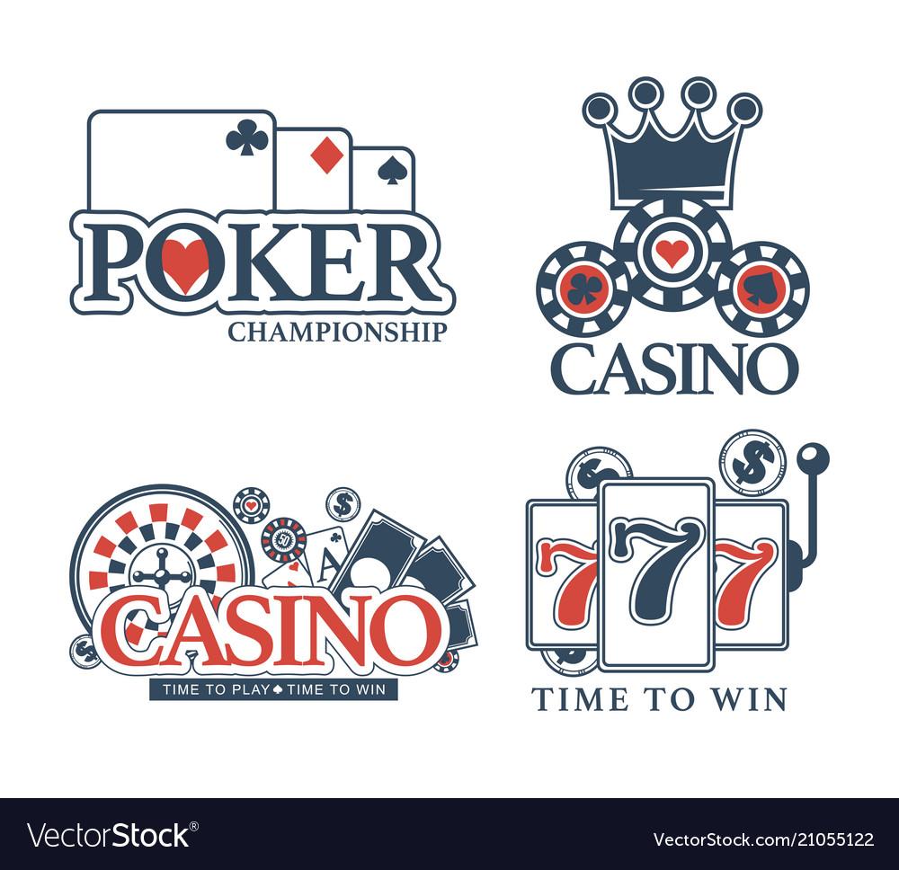 Casino poker gamble game icons Royalty Free Vector Image