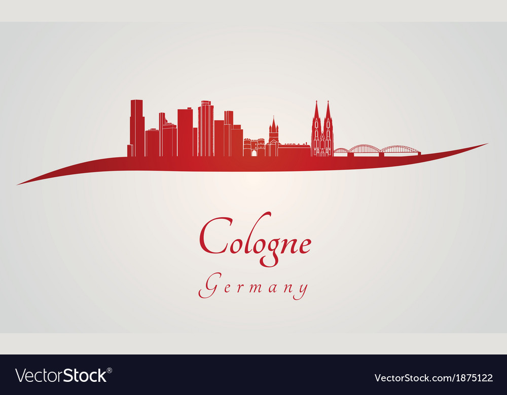 Cologne skyline in red