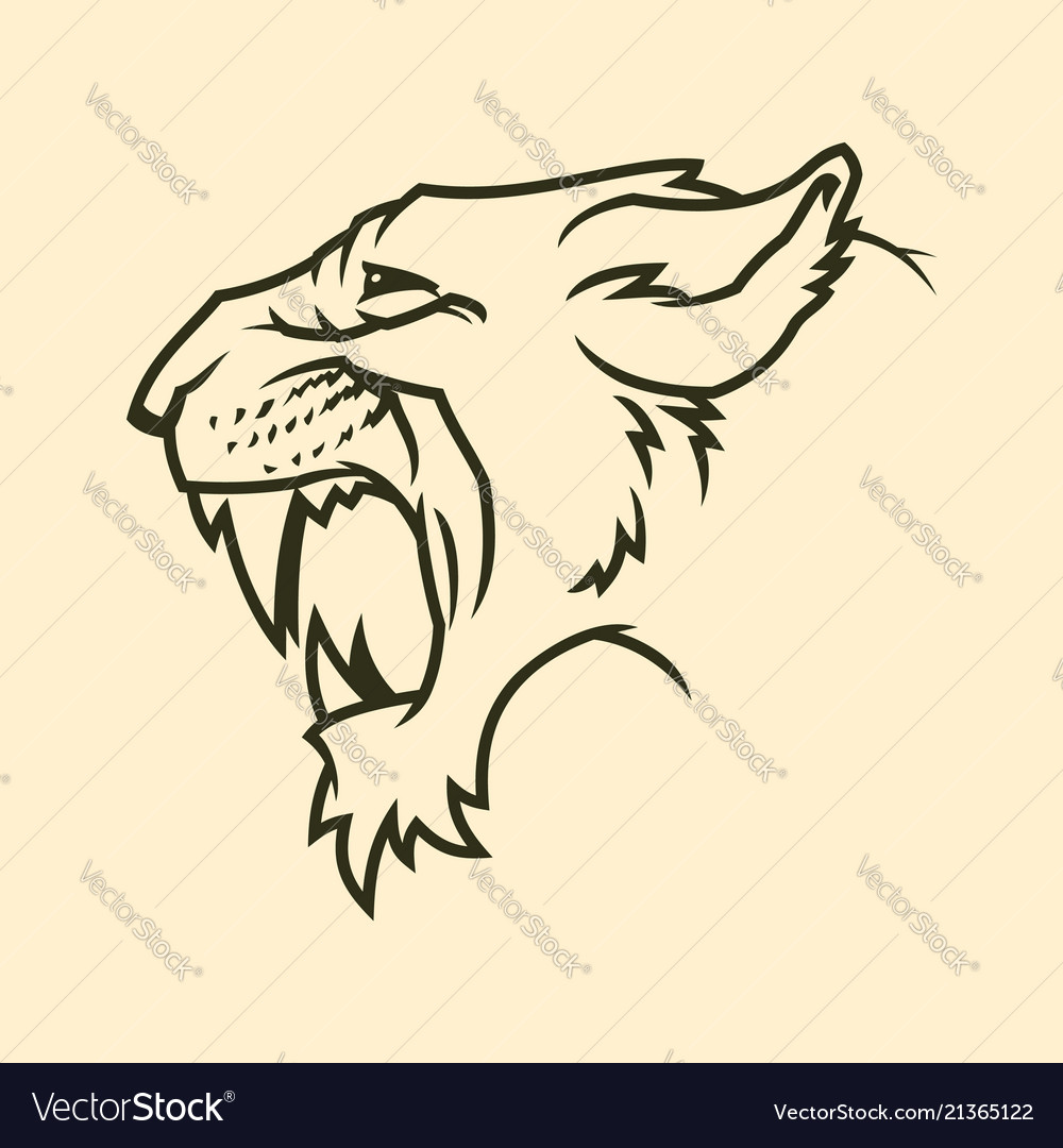 87d876bd8fe Cougar or panther head silhouette Royalty Free Vector Image
