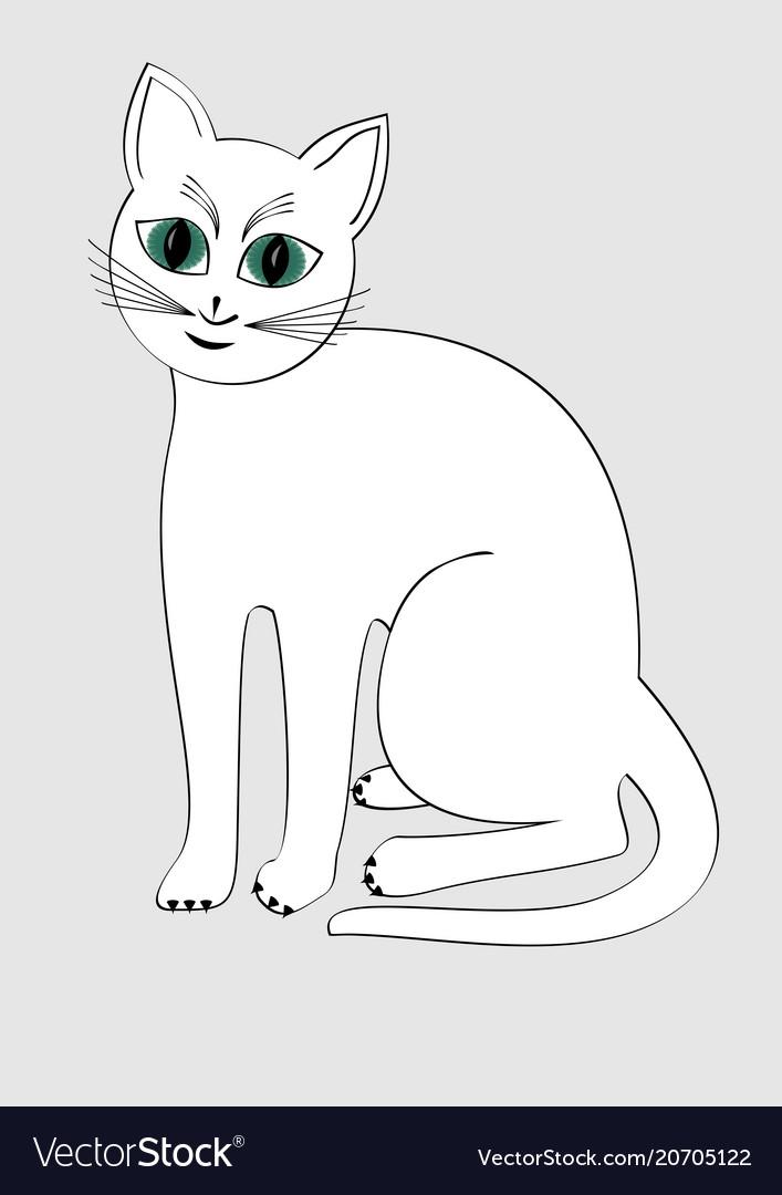 Cute white cat isolated cartoon on light gray