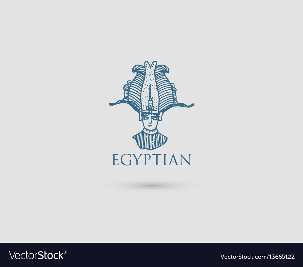 Egyptian logo with symbol pharaon osiris of