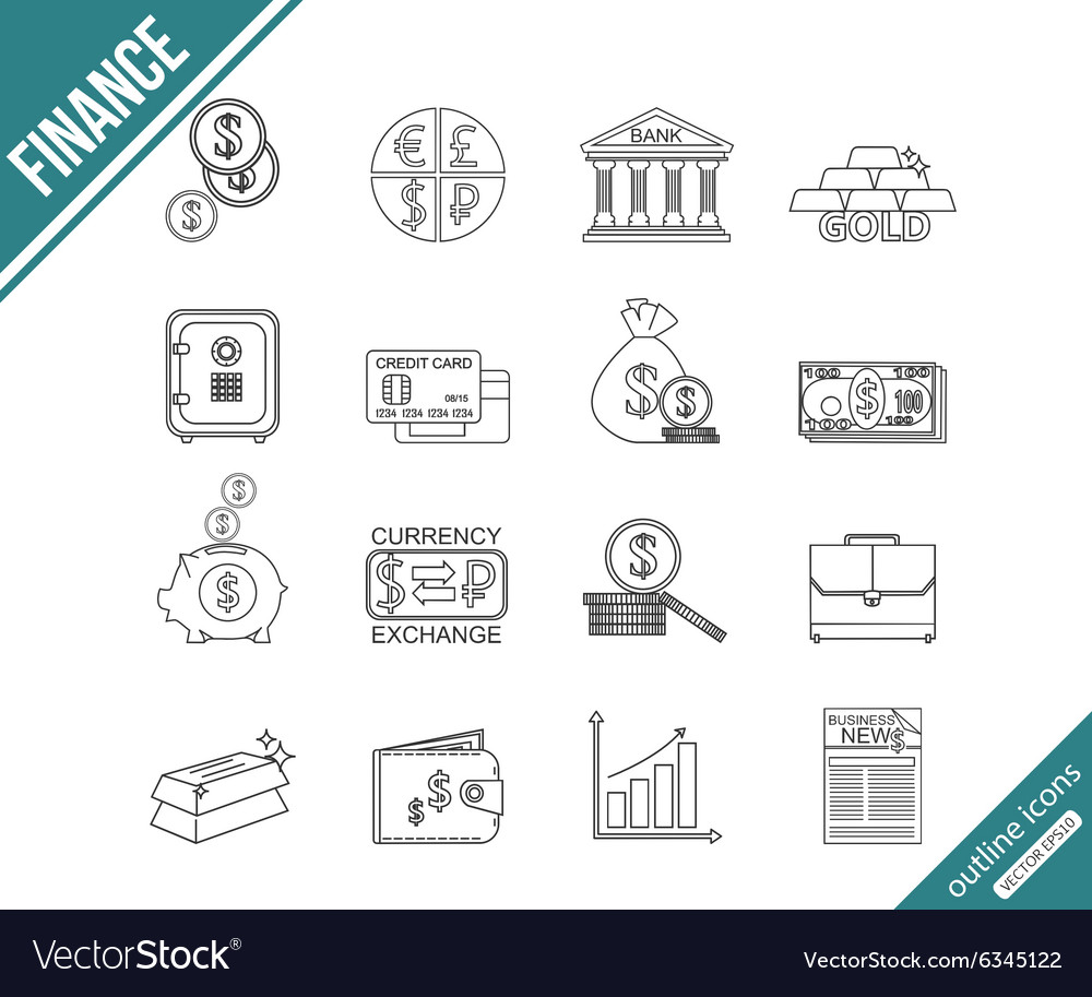 Finance and investing outline icons set