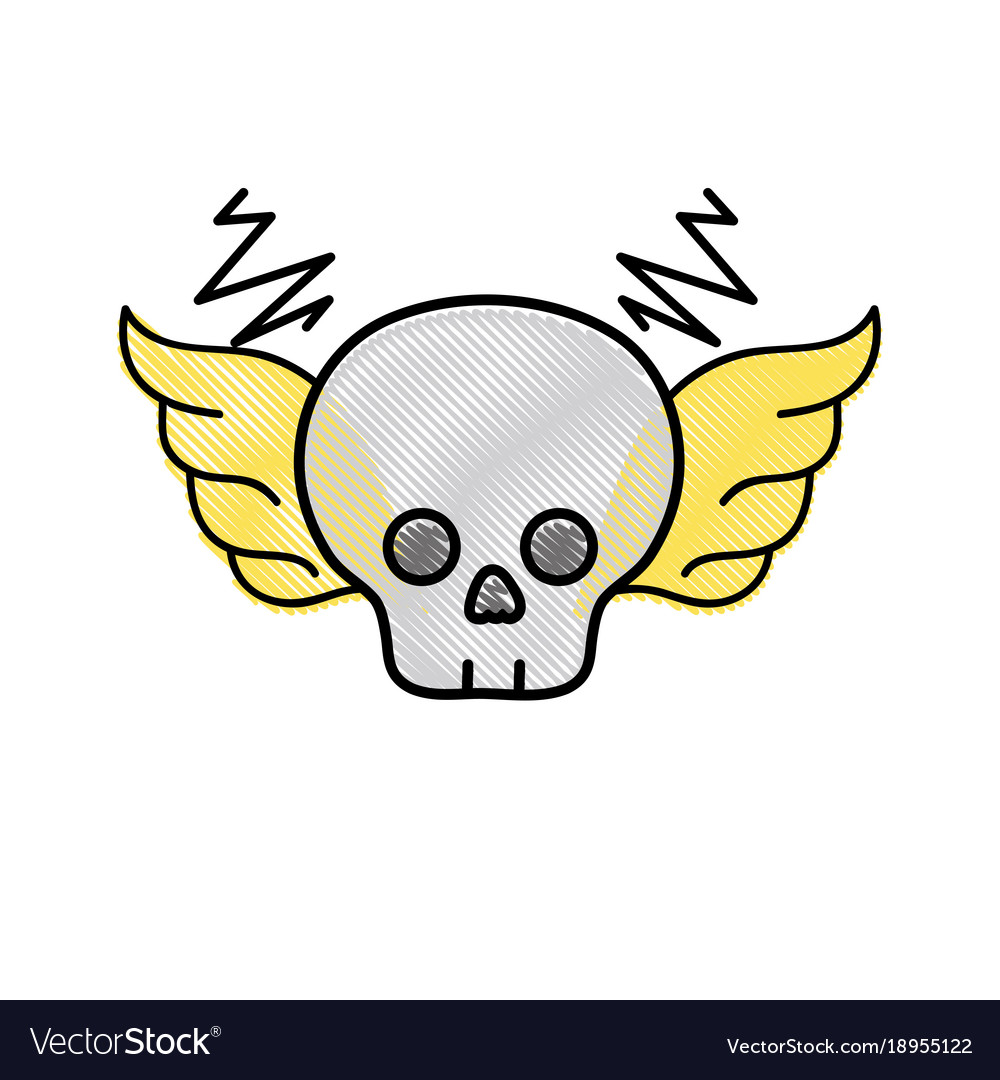 Grated Skull With Wings Rock Art Symbol Royalty Free Vector