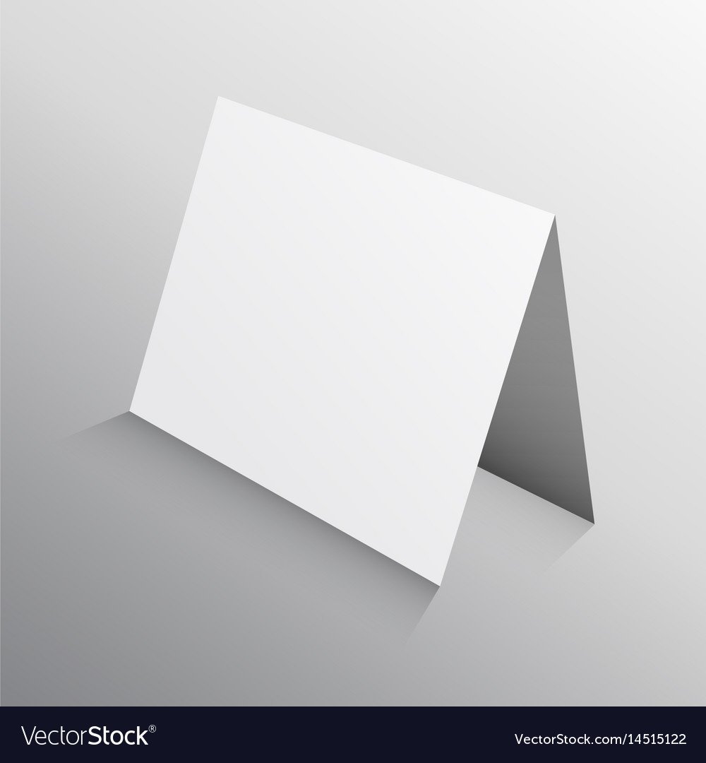 Perspective folded paper card in 3d mockup