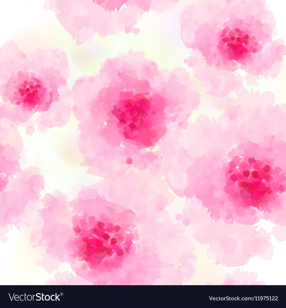 Seamless background pattern of pink Sakura blossom vector image
