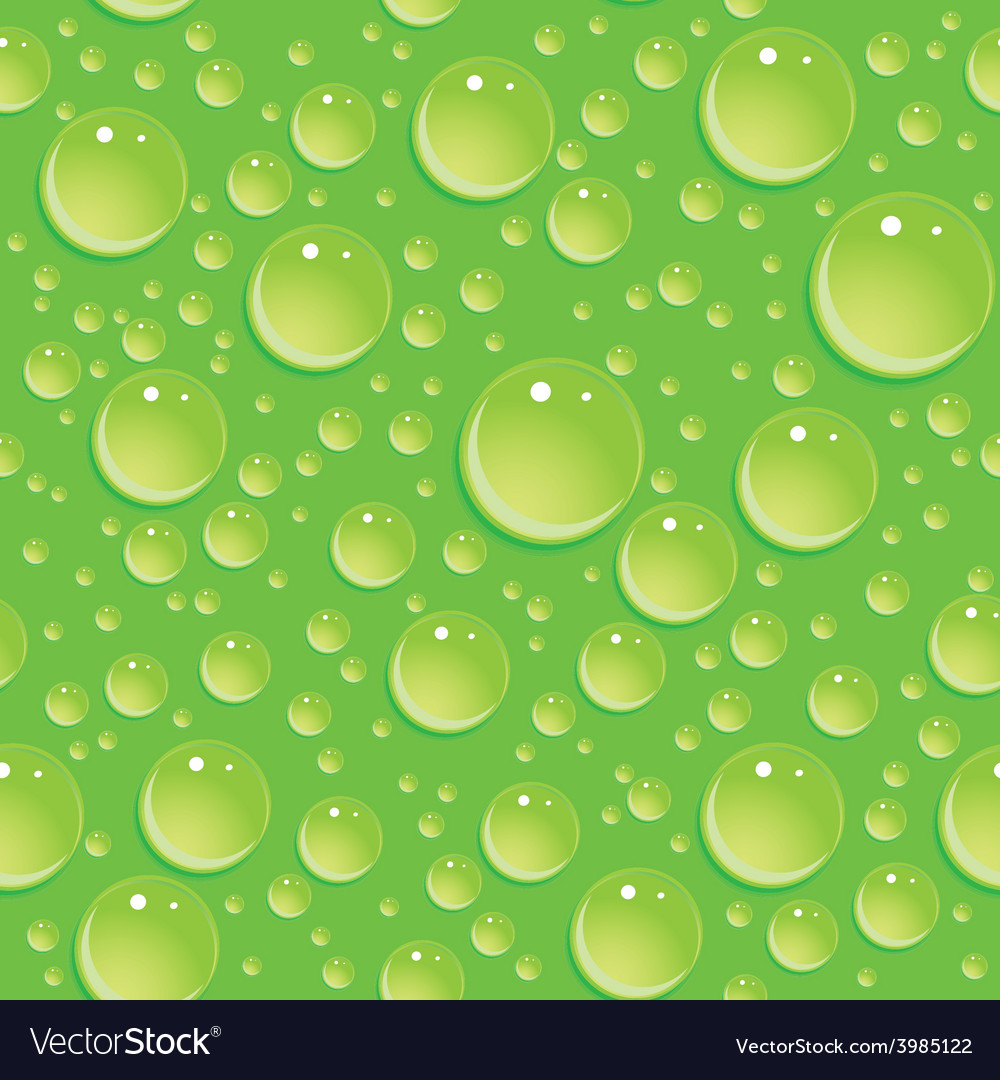 Seamless green pattern with water drops