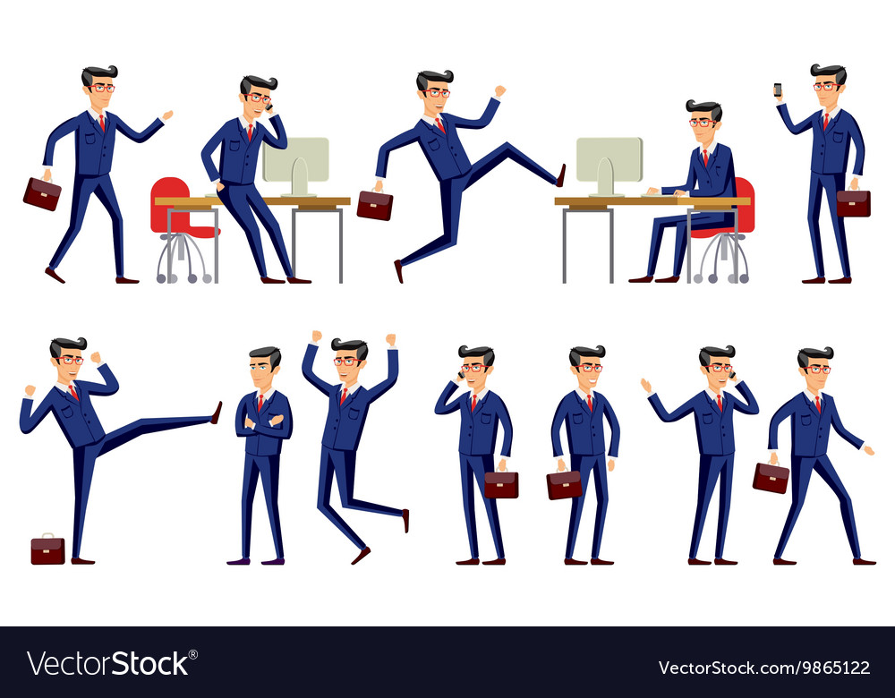 Set of businessman characters poses eps10