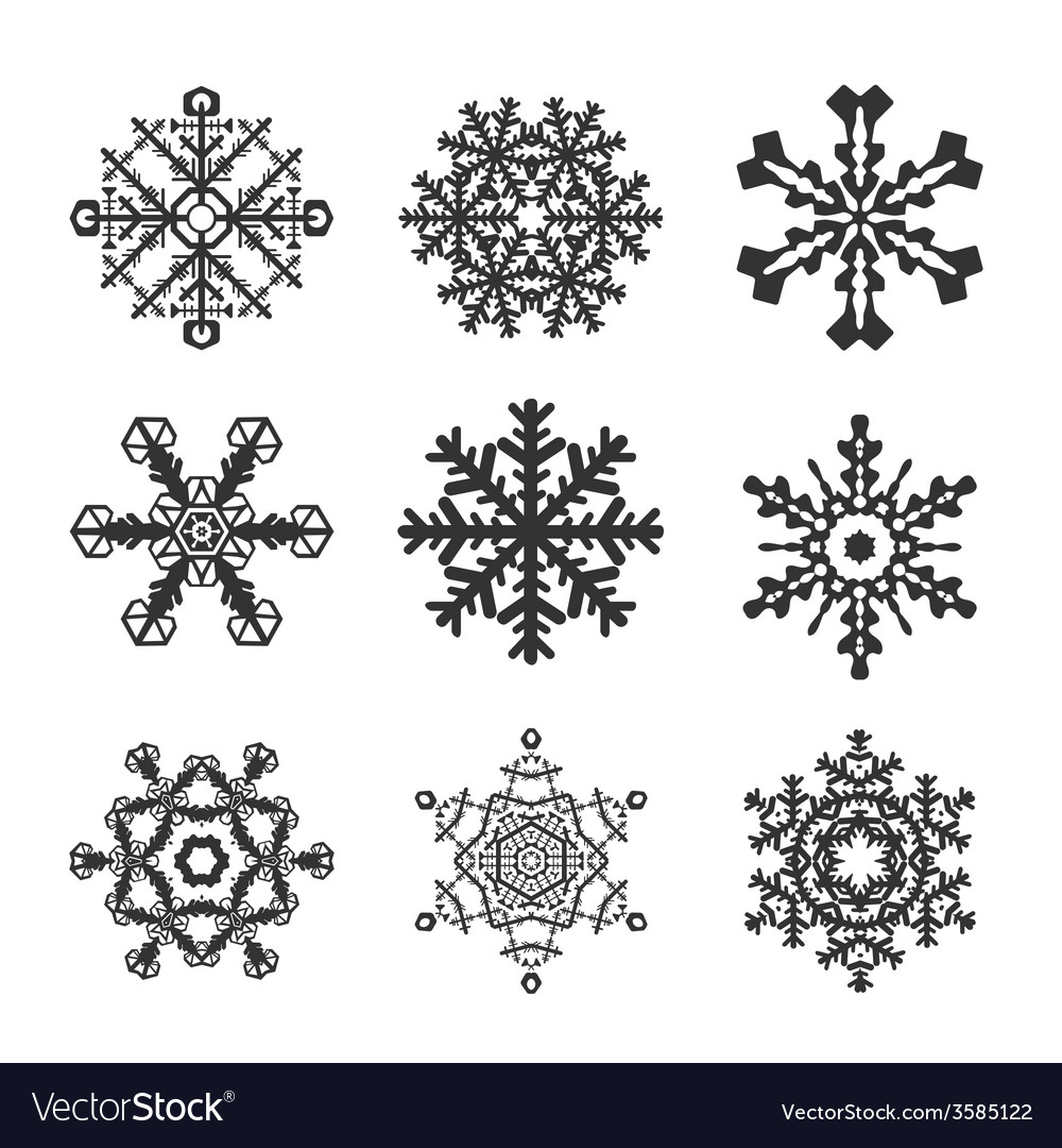 Snowflakes icon set collection shapes