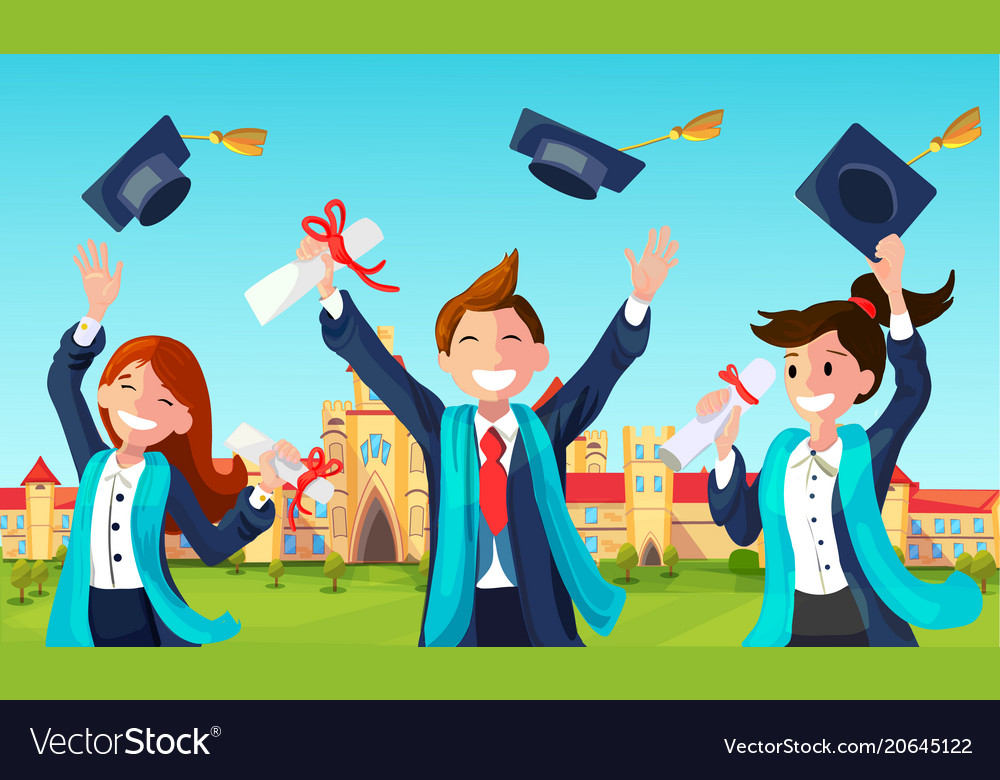 Students throw graduation hats in air