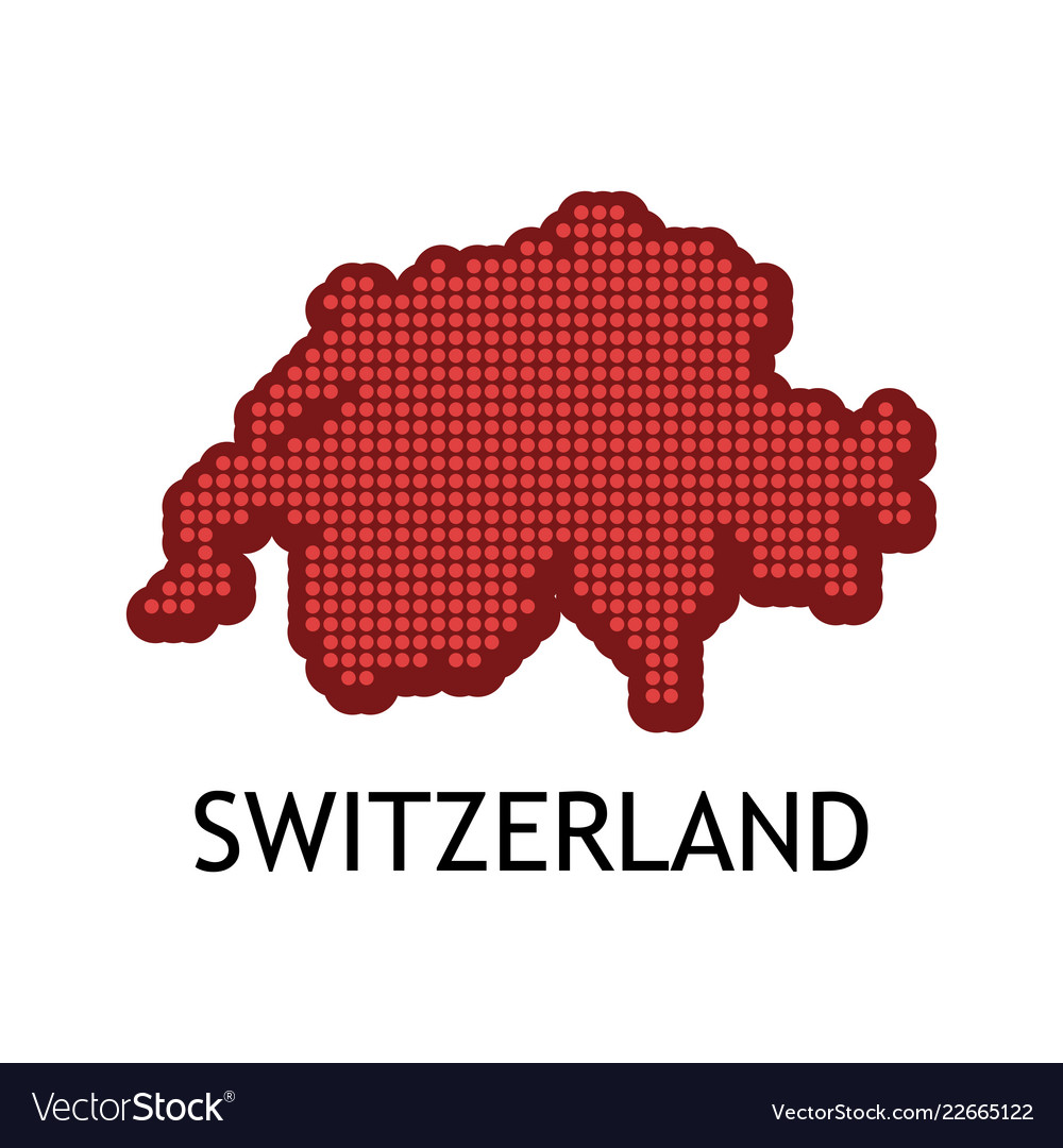 Swiss contour map in color of national flag