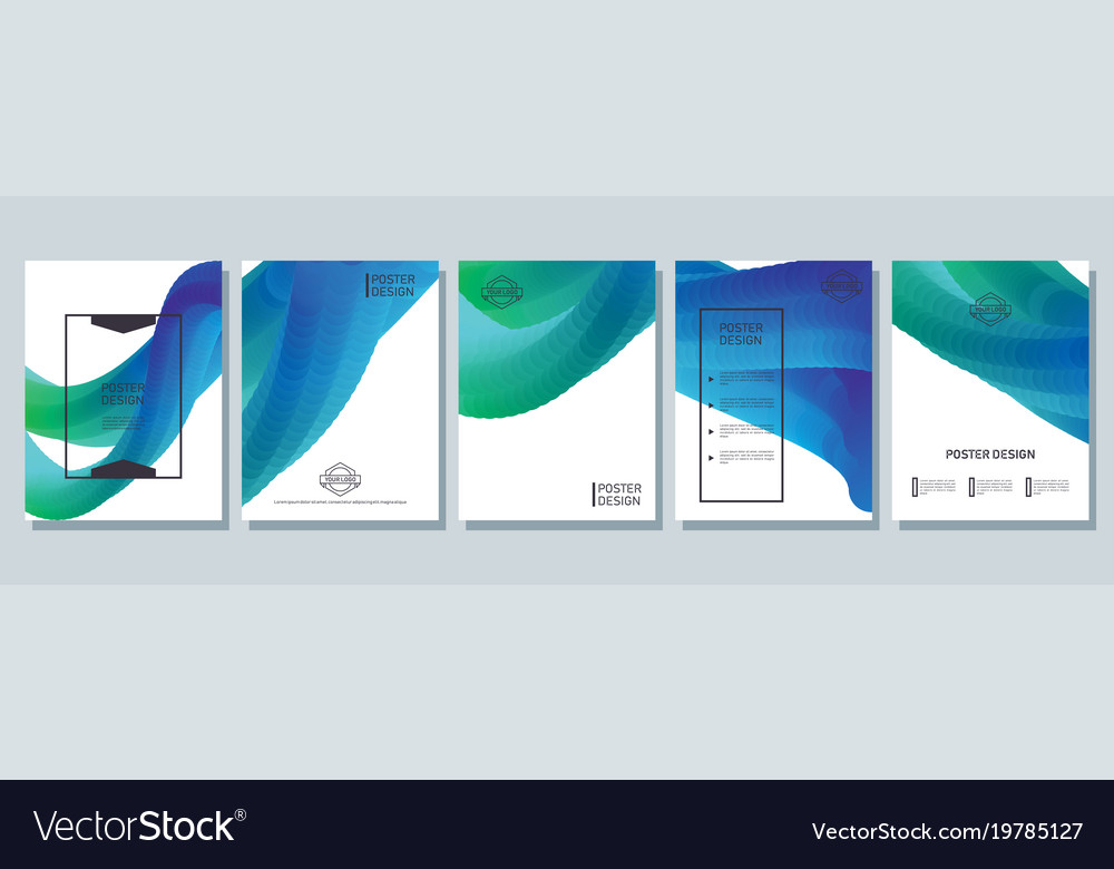 Abstract bright posters set